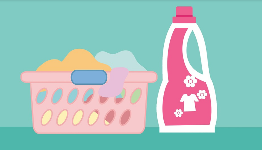 Image of laundry basket and detergent